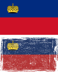 Liechtenstein grunge flag. Vector illustration