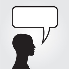 Clipart of man with speech bubble. Vector