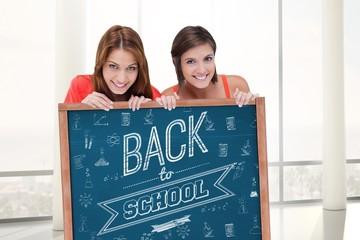 Composite image of teenage girls smiling