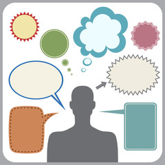 Clipart of man with speech bubbles. Vector