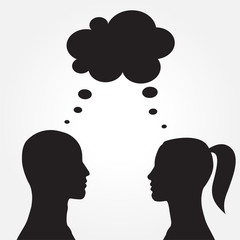 Man and woman with speech bubble. Vector
