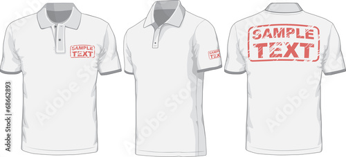 Front, back and side views of polo-shirt. Vector - 68662893