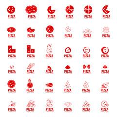 Pizza Icons Set - Isolated On White Background