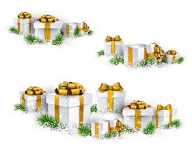 Heaps of gift boxes. Realistic set.