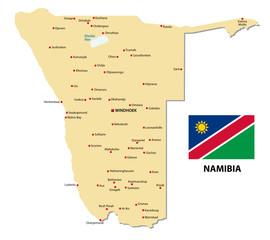 Namibia, Karte mit Flagge