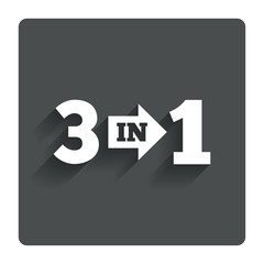 Three in one sign icon. 3 in 1 symbol with arrow