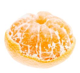 Peeled Mandarin Tangerine Orange Fruit Isolated On White Backgro