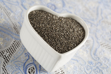 Close up of Heart Full of Chia Seeds