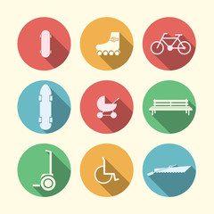 Flat icons for active leisure in the park