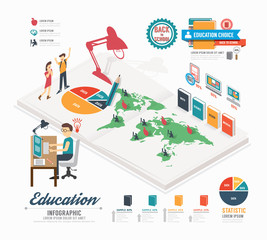 Infographic education template design . isometric concept vector