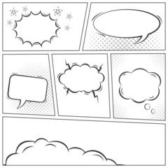 Comic speech bubbles monochrome vector background