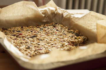 Closeup of a homemade pile of muesli