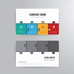Business card template modern abstract jigsaw concept design.