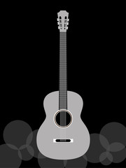 The acoustic guitar in black and white tone.