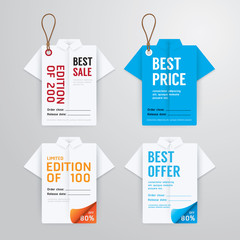 Sale banners price tag paper card template shirt origami collect