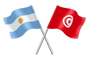 Flags : Argentina and Tunisia