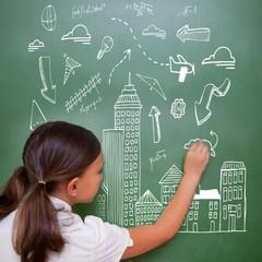 Composite image of cityscape doodle