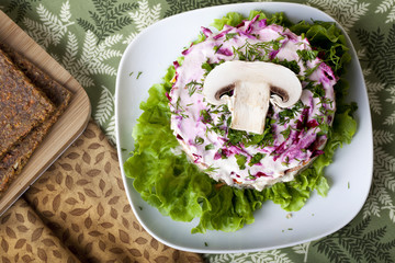 raw food Salad with mushroom