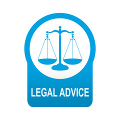 Etiqueta tipo app azul redonda LEGAL ADVICE