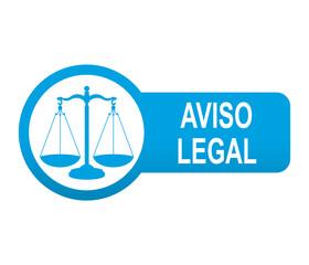 Etiqueta tipo app azul alargada AVISO LEGAL