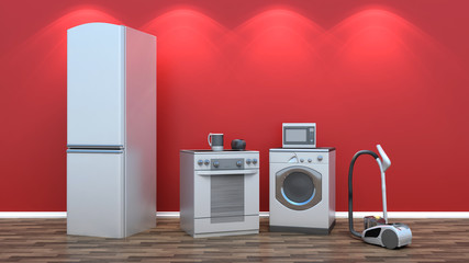 Interior with group of home appliances