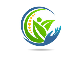 Natural Wellness logo abstract hand care chiropractic