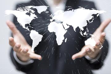 world business finger