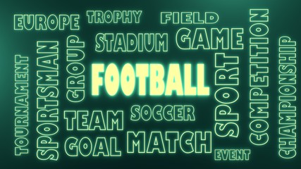 football neon shine text and related tags cloud