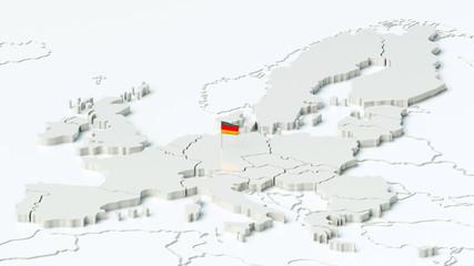 Europa und angrenzende Länder mit Deutschlandflagge
