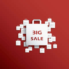 Shopping bag icon with Christmas sales