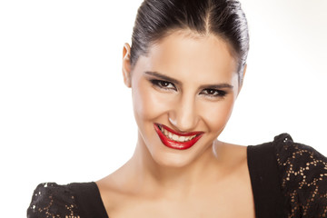 portrait of a smiling girl with red lipstick