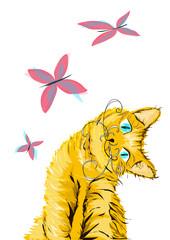 рыжий кот с бабочками