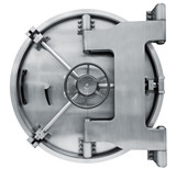 Bank vault door isolated on white with clipping path