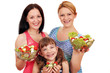 women teenage and little girl hold salad