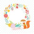 floral autumn frame, welcome lettering, vector illustration