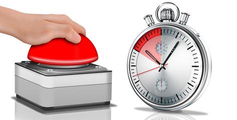 Notschlater mit Hand und Stoppuhr, Zeitmesser, freigestellt