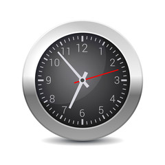 Round Office Wall Clock with Black Dial.