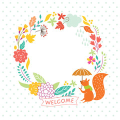 floral autumn frame, welcome lettering, vector illustration