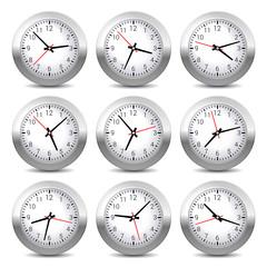 Wall Clock Set on White Background. .