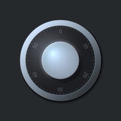 Combination lock wheel on dark background.