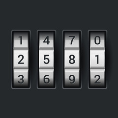 Combination lock number code. on dark background