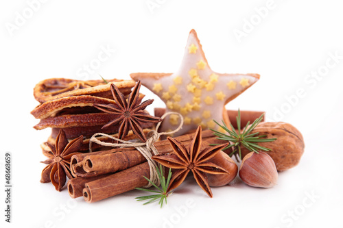 canvas print picture anise,cinnamon and ingredients