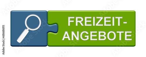 canvas print picture Puzzle-Button blau grün: Freizeitangebote