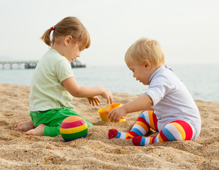 young children  on beach