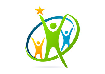 success star teamwork ,creative, partnership healthy logo
