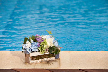 flowers next to the pool