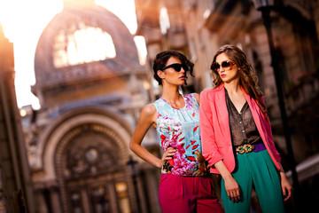 Outdoor fashion street young women, shopping