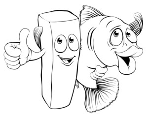 Fish and chips characters