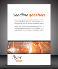 Business A4 booklet cover with technological pattern