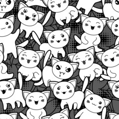 Seamless halloween kawaii cartoon pattern with cute cats.